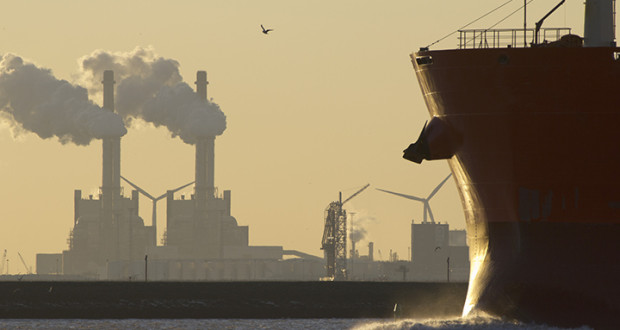 A ship entering the port of Rotterdam